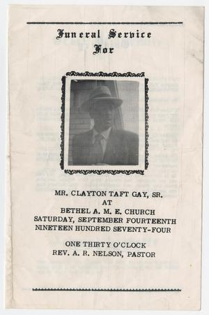 Primary view of object titled '[Funeral Program for Clayton Taft Gay, Sr., September 14, 1974]'.