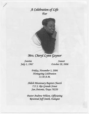 [Funeral Program for Cheryl Lynn Gaynor, November 3, 2006]