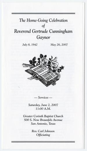Primary view of object titled '[Funeral Program for Gertrude Cunningham Gaynor, June 2, 2007]'.