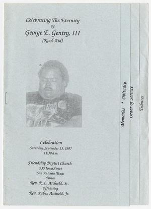 Primary view of object titled '[Funeral Program for George E. Gentry, III, September 13, 1997]'.