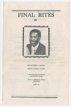 Primary view of object titled '[Funeral Program for Haymon L. Gentry, February 14, 1977]'.