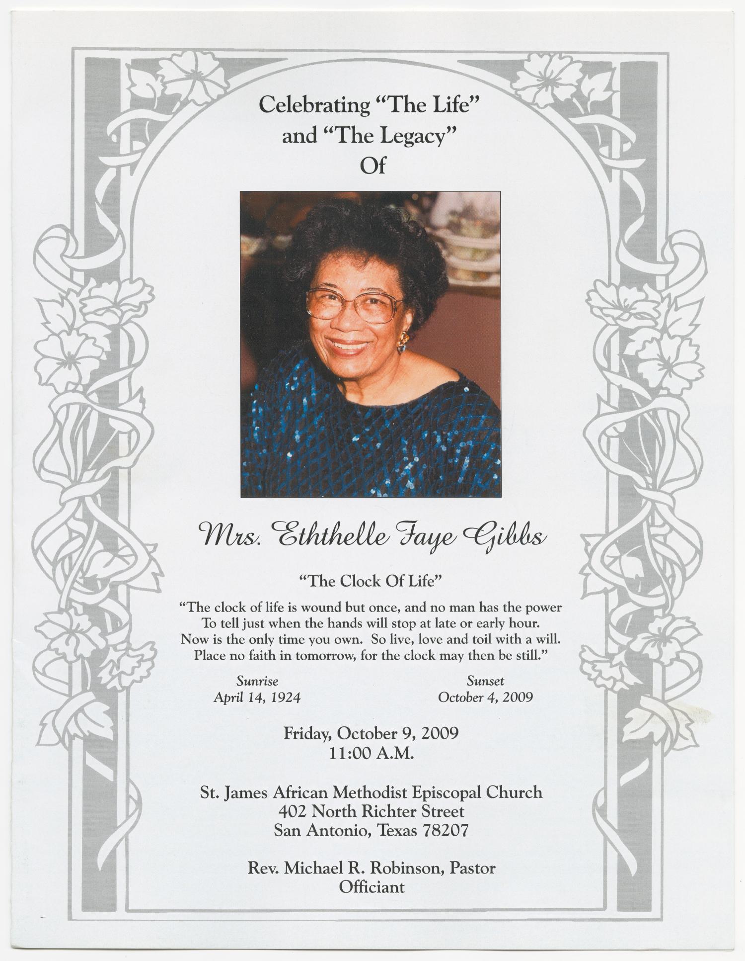 funeral program for eththelle faye gibbs  october 9  2009