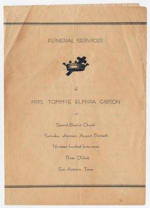 Primary view of object titled '[Funeral Program for Tommye Elmira Gibson, August 30, 1947]'.