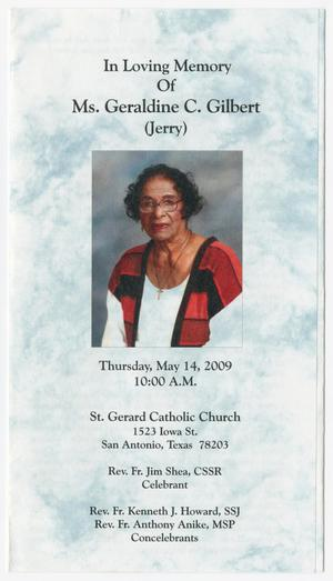 Primary view of object titled '[Funeral Program for Geraldine C. Gilbert, May 14, 2009]'.