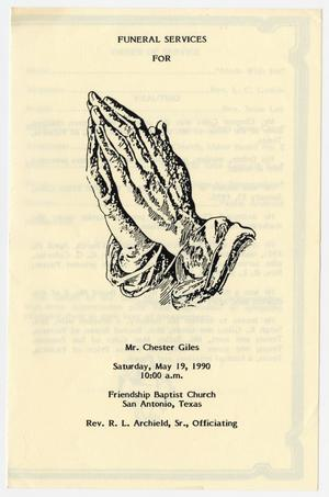 Primary view of object titled '[Funeral Program for Chester Giles, May 19, 1990]'.