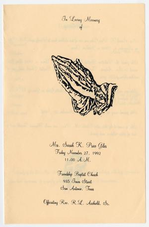 [Funeral Program for Sarah K. Price Giles, November 27, 1992]