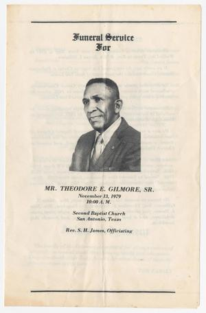 Primary view of object titled '[Funeral Program for Theodore E. Gilmore, Sr., November 13, 1979]'.