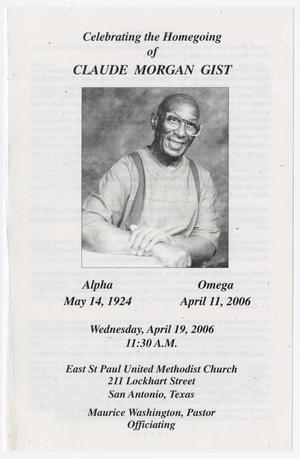 Primary view of object titled '[Funeral Program for Claude Morgan Gist, April 19, 2006]'.