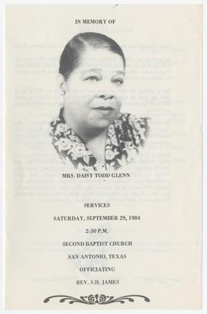 Primary view of object titled '[Funeral Program for Daisy Todd Glenn, September 29, 1984]'.