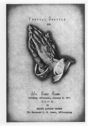 Primary view of object titled '[Funeral Program for Henry Glenn, January 9, 1971]'.