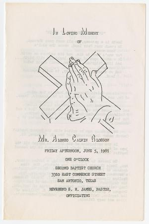 Primary view of object titled '[Funeral Program for Alonzo Calvin Glosson, June 5, 1981]'.
