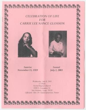 [Funeral Program for Carrie Lee Nance Glosson, July 9, 2003]