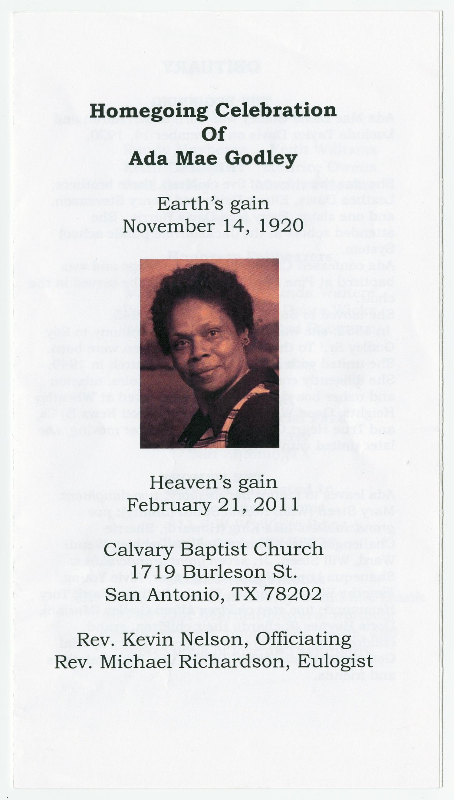 [Funeral Program for Ada Mae Godley, February 21, 2011]                                                                                                      [Sequence #]: 1 of 3