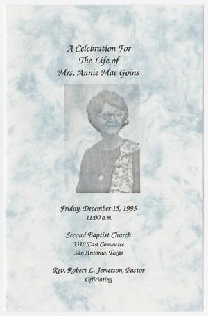 Primary view of object titled '[Funeral Program for Annie Mae Goins, December 15, 1995]'.
