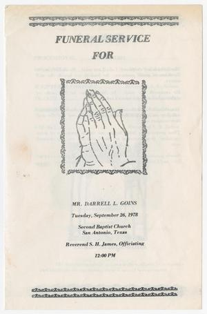 Primary view of object titled '[Funeral Program for Darrell L. Goins, September 26, 1978]'.