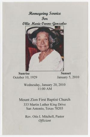 Primary view of object titled '[Funeral Program for Ollie Marie Owens Gonzales, January 20, 2010]'.