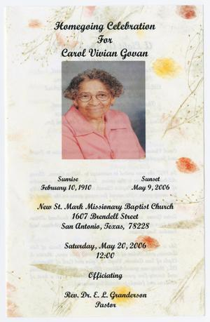 Primary view of object titled '[Funeral Program for Carol Vivian Govan, May 20, 2006]'.