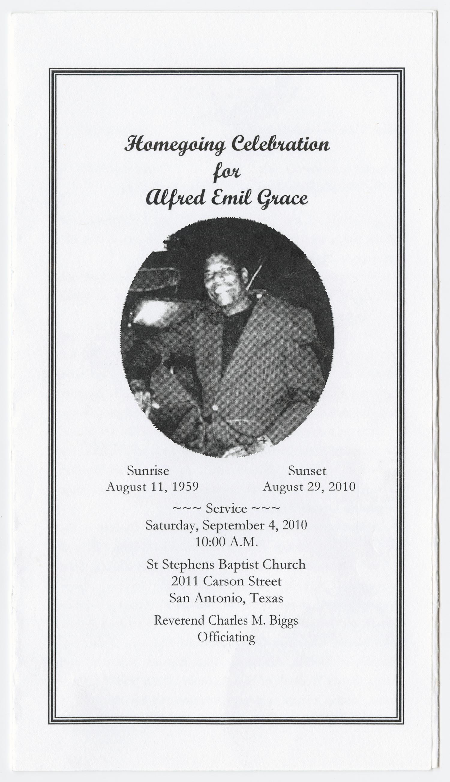 [Funeral Program for Alfred Emil Grace, September 4, 2010]                                                                                                      [Sequence #]: 1 of 3