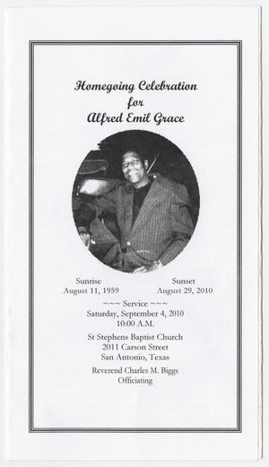Primary view of object titled '[Funeral Program for Alfred Emil Grace, September 4, 2010]'.