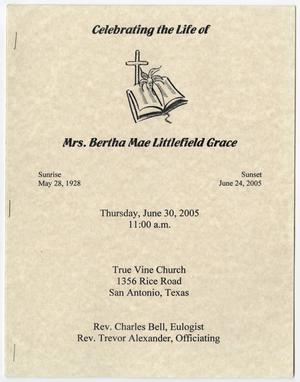 Primary view of object titled '[Funeral Program for Bertha Mae Littlefield Grace, June 30, 2005]'.