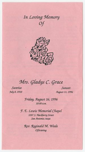 [Funeral Program for Gladys C. Grace, August 16, 1996]