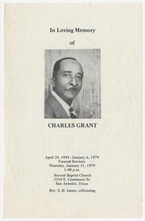 Primary view of object titled '[Funeral Program for Charles Grant, January 11, 1979]'.