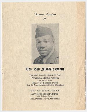 Primary view of object titled '[Funeral Program for Earl Flordree Grant, June 22, 1985]'.