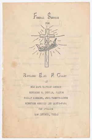Primary view of object titled '[Funeral Program for Earl F. Grant, June 26, 1964]'.