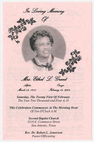 Primary view of object titled '[Funeral Program for Ethel L. Grant, February 21, 2004]'.