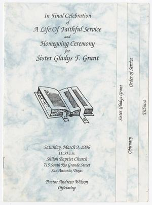 Primary view of object titled '[Funeral Program for Gladys F. Grant, March 9, 1996]'.