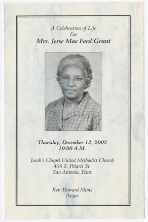 Primary view of object titled '[Funeral Program for Jesse Mae Ford Grant, December 12, 2002]'.