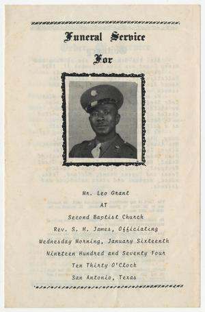Primary view of object titled '[Funeral Program for Leo Grant, January 16, 1974]'.