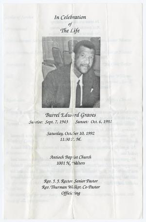 Primary view of object titled '[Funeral Program for Burrel Edward Graves, October 10, 1992]'.