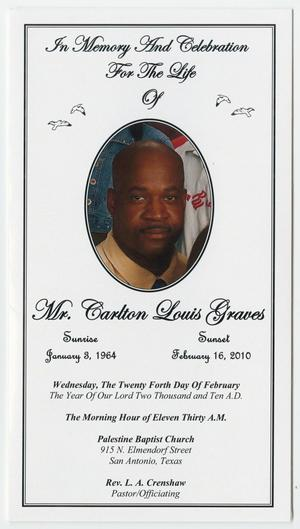 Primary view of object titled '[Funeral Program for Carlton Louis Graves, February 24, 2010]'.