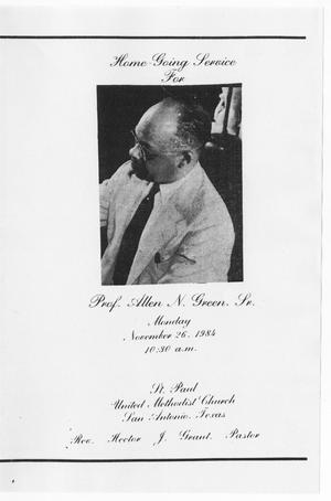 Primary view of object titled '[Funeral Program for Allen N. Green, Sr., November 26, 1984]'.