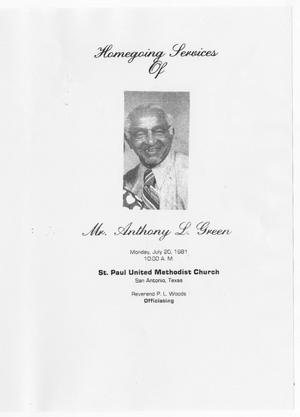 [Funeral Program for Anthony L. Green, July 20, 1981]