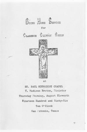 Primary view of object titled '[Funeral Program for Clarence Clifton Green, August 11, 1966]'.