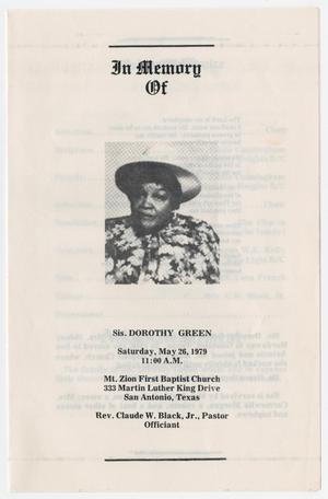 Primary view of object titled '[Funeral Program for Dorothy Green, May 26, 1979]'.