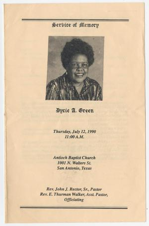 Primary view of object titled '[Funeral Program for Dycie A. Green, July 12, 1990]'.