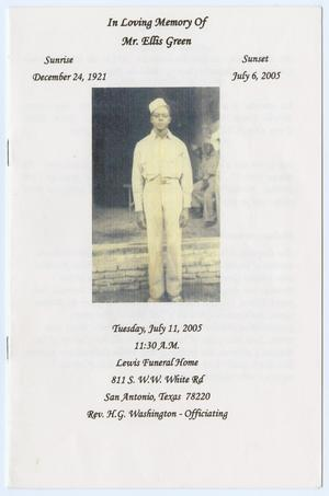 Primary view of object titled '[Funeral Program for Ellis Green, July 11, 2005]'.