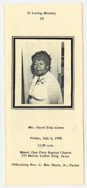 Primary view of object titled '[Funeral Program for Hazel Etta Green, July 6, 1990]'.