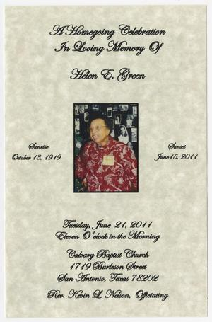 Primary view of object titled '[Funeral Program for Helen E. Green, June 21, 2011]'.