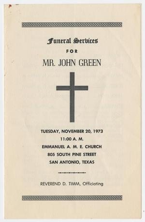 Primary view of object titled '[Funeral Program for John Green, November 20, 1973]'.