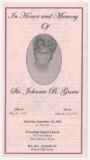 Primary view of object titled '[Funeral Program for Johnnie B. Green, September 28, 2002]'.