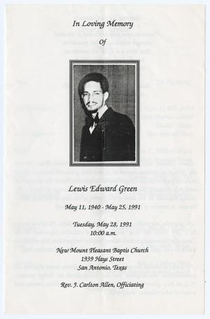 Primary view of object titled '[Funeral Program for Lewis Edward Green, May 28, 1991]'.