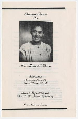 Primary view of object titled '[Funeral Program for Mary A. Green, November 23, 1983]'.