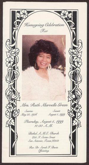 Primary view of object titled '[Funeral Program for Ruth Marvelle Green, August 5, 1999]'.