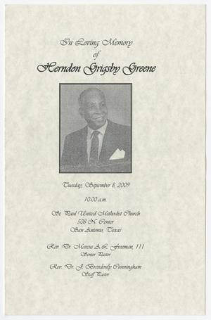 Primary view of object titled '[Funeral Program for Herndon Grigsby Greene, September 8, 2009]'.