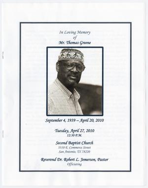 Primary view of object titled '[Funeral Program for Thomas Greene, April 27, 2010]'.