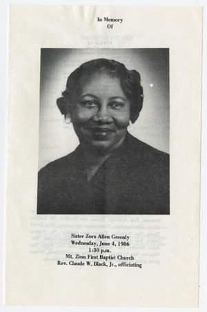 Primary view of object titled '[Funeral Program for Zora Allen Greenly, June 4, 1986]'.